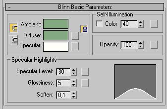 Рис. 38. Настройка параметров в свитке Blinn Basic Parameters