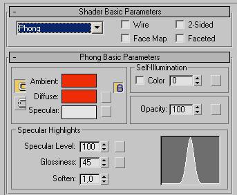 Рис. 40. Настройка параметров в свитке Phong Basic Parameters