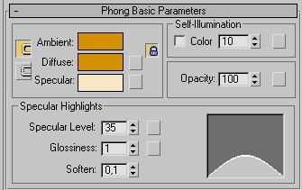 Рис. 55. Настройка параметров в свитке Phong Basic Parameters