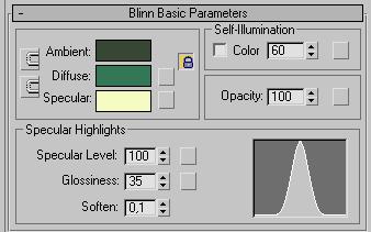 Рис. 59. Настройка параметров в свитке Blinn Basic Parameters