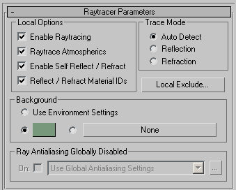 Рис. 62. Настройка параметров в свитке Raytracer Parameters