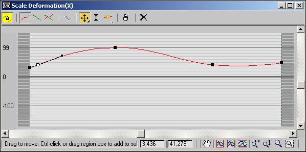Рис. 66. Окно Scale Deformation для первого лофт-объекта