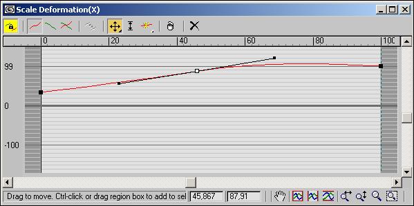 Рис. 67. Окно Scale Deformation для второго лофт-объекта