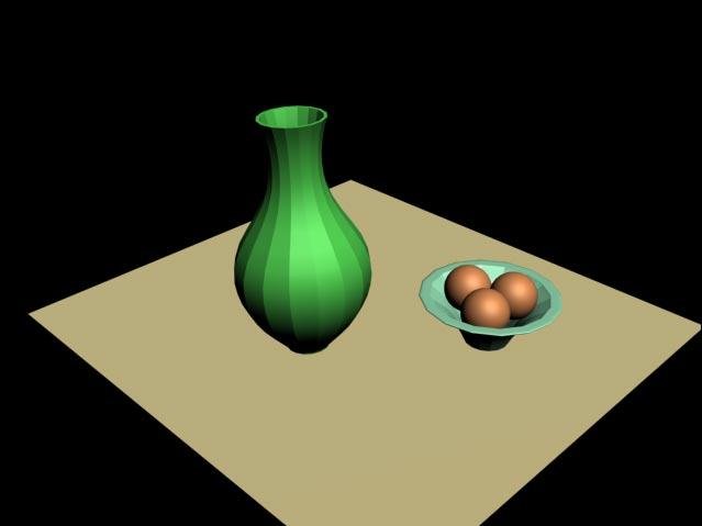 Рис. 69. Вид визуализированной сцены до присвоения объектам материалов