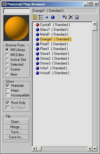 Рис. 70. Окно Material/Map Browser со списком сохраненных в библиотеке материалов