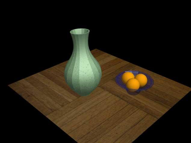 Рис. 71. Вид визуализированной сцены после присвоения объектам материалов