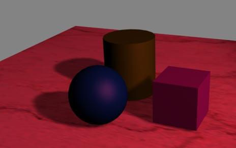 Рис. 24. Сцена с тенями, формирующимися путем смешивания их базового цвета с цветом источника (цвет источника был изменен)