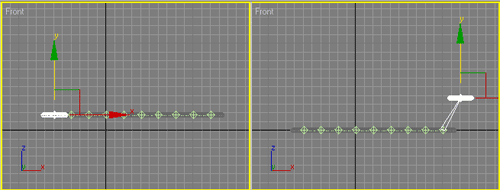 Рис. 10. Поведение объектов в случае прямой кинематики — при перемещении первого (слева) и последнего (справа) торусов