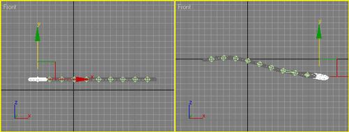 Рис. 11. Поведение объектов в случае обратной кинематики — при перемещении первого (слева) и последнего (справа) торусов