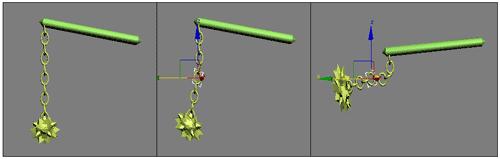 Рис. 5. Поведение объектов в случае обратной кинематики