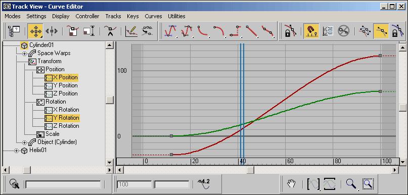 Рис. 3. Возможный вид окна Track View — Curve Editor