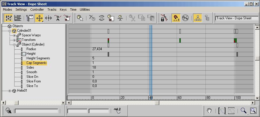 Рис. 6. Возможный вид окна Track View — Dope Sheet
