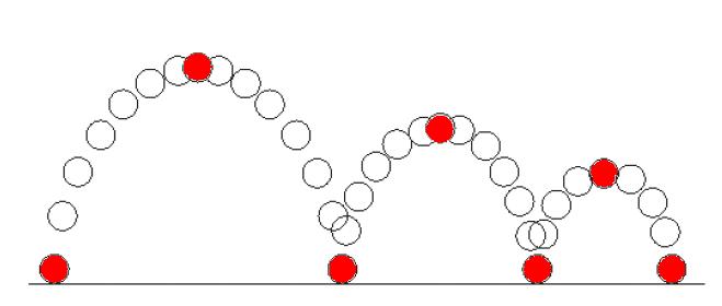 Рис. 7. Условная схема перемещения объекта (позиции объекта, соответствующие ключевым кадрам, выделены красным цветом)