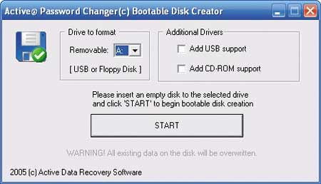 Мастер создания загрузочной дискеты или флэш-диска USB с интегрированным приложением Active Password Changer 3.0