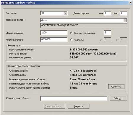 Настройка режима генерации Rainbow-таблиц в программе Proactive Password Auditor