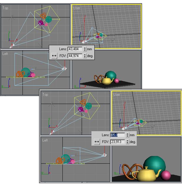 Рис. 14. Вид сцены с исходным (слева) и увеличенным фокусным расстоянием