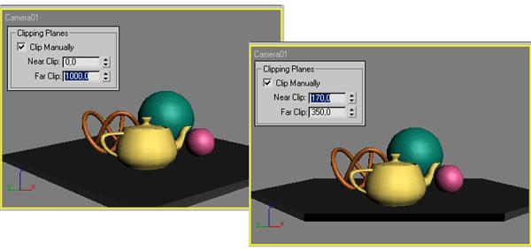Рис. 17. Возможный вид сцены: исходный (слева) и с ограничивающими плоскостями