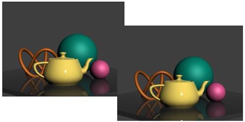 Рис. 18. Результат визуализации сцены: исходный вид (слева) и после стандартного размытия