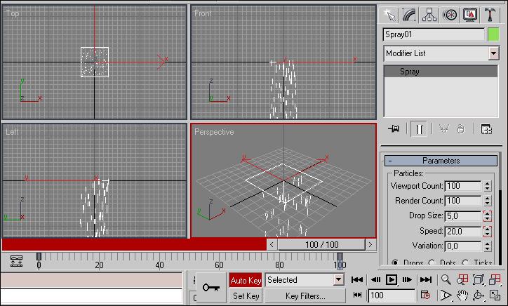 Рис. 7. Создание ключей анимации для параметров DropSize и Speed