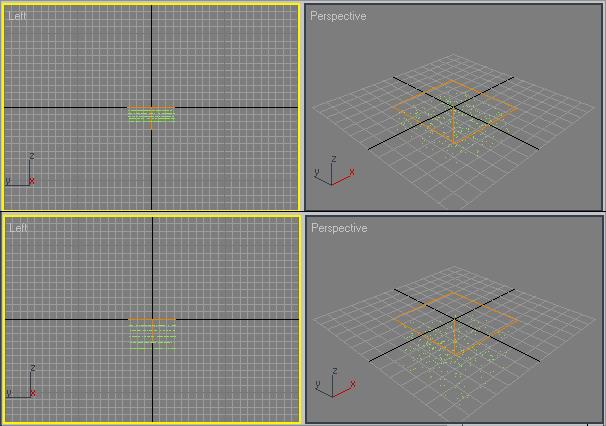 Рис. 9. Вид частиц в 5-м (сверху) и 100-м кадрах — в обоих случаях четко видна граница максимального распространения частиц