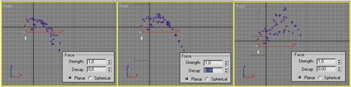 Рис. 20. Зависимость характера перемещения частиц от параметра Decay