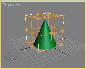 Рис. 5. Пространственная решетка, созданная вокруг конуса