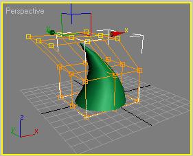 Рис. 6. Деформирование конуса посредством деформации FFD (Box)