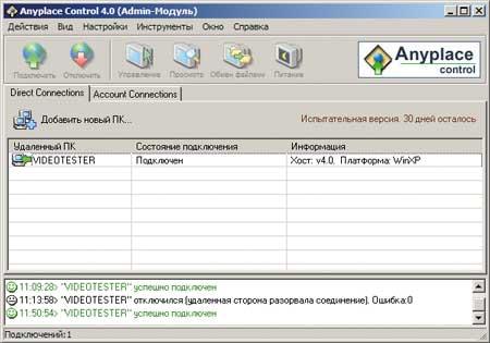 Рис. 4. Главное окно программы Anyplace Control 4.0.8.4, где отображается с