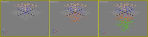 Рис. 11. Вид частиц в окне проекции в нескольких кадрах анимации
