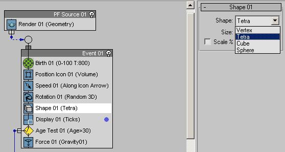 Рис. 19. Изменение вида частиц при визуализации через оператор Shape