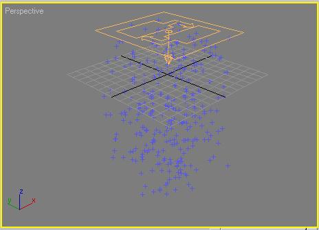 Рис. 6. Вид потока частиц в окне проекции после корректировки параметров операторов Birth и Speed