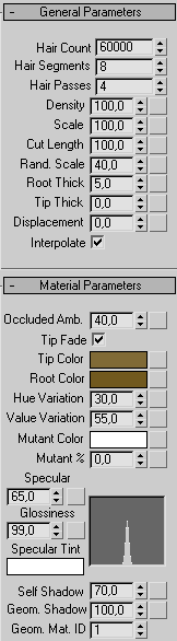 Рис. 21. Настройка параметров свитка MaterialParameters
