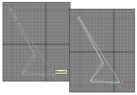 Рис. 11. Формирование IK-цепи: процесс связывания объектов в IK-цепь (слева) и вид Bones-системы с IK-цепью (справа)