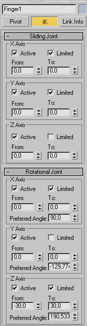 Рис. 20. Настройка параметров свитков SlidingJoints и RotationalJoints для кости Finger1