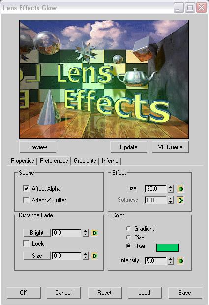 Рис. 43. Настройка параметров фильтра LensEffectsGlow