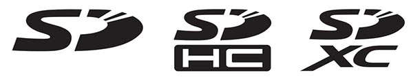Логотипы разных типов SD-карт (слева направо): SD, SDHC и SDXC