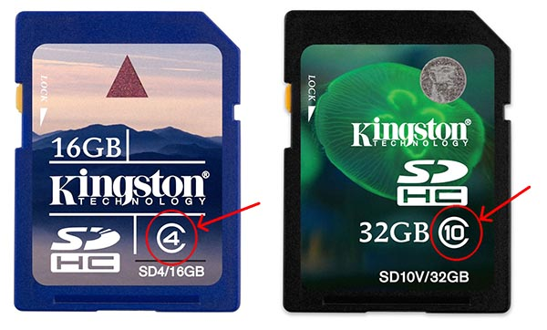 Обозначение скоростного класса на корпусе карты памяти