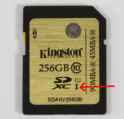 Значок в виде римской цифры I рядом с логотипом SDHC указывает на то, что данный носитель оборудован шиной UHS-I