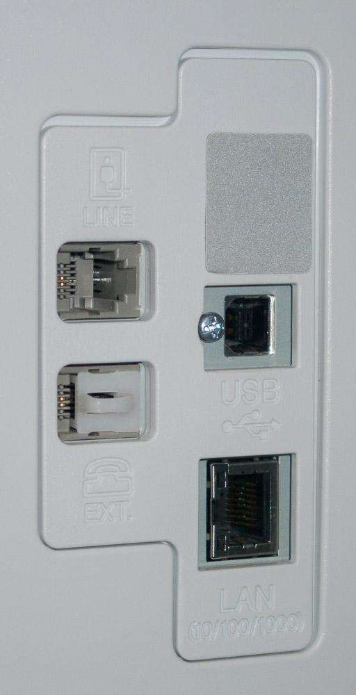 Разъемы интерфейсов на задней панели корпуса МФУ