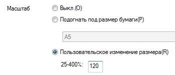 Ввод числового значения масштаба в процентах от размера страницы печатаемого документа