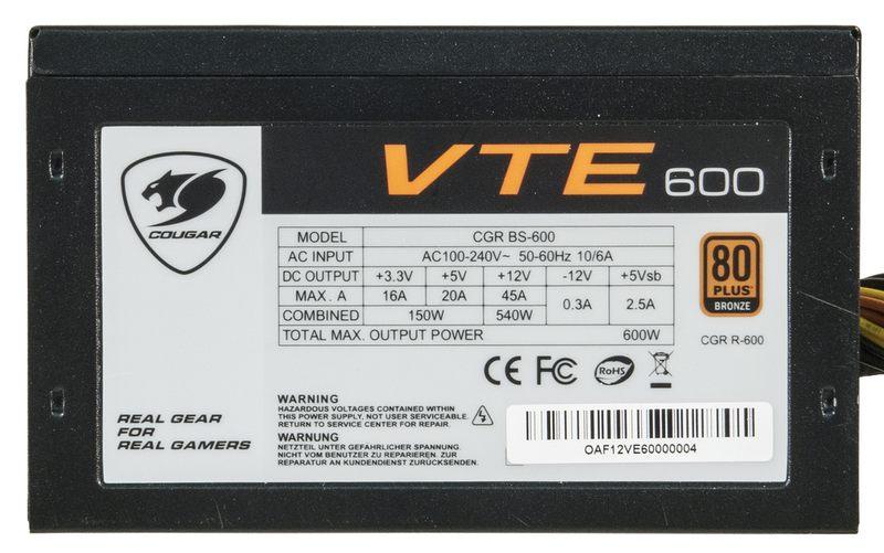 Cougar VTE600 Блок питания (CGR BS-600) мощностью 600 Вт